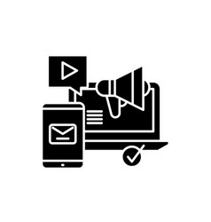 social media marketing black icon sign on vector image