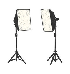 Softbox photographic lighting device sketch vector