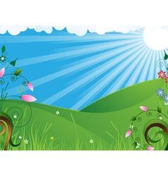 Sunny rural landscape vector image