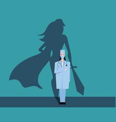Super woman doctor or nurse hospitals superhero vector