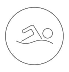 Swimmer line icon vector