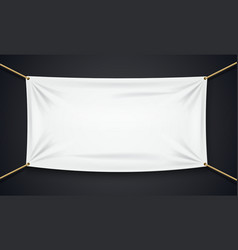 Textile banner with rope isolated on black vector image vector image