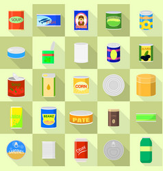 Tin can icons set flat style vector
