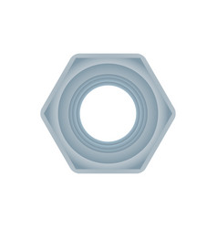 Top view hex nut isolated on white background vector