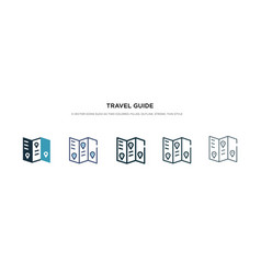 Travel guide icon in different style two colored vector