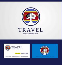 Travel swaziland creative circle flag logo vector