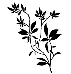 tree branches silhouette with lot leaves vector image