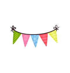 triangle bunting flags with various patterns vector image