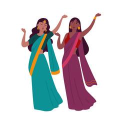 Two women wearing traditional clothing dancing vector