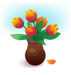 vase of tulip flowers vector image
