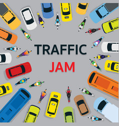 vehicles on road with traffic jam top or above vector image