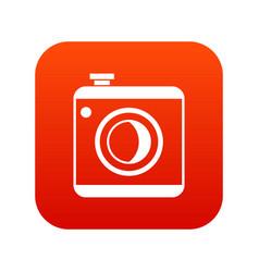 vintage photo camera icon digital red vector image
