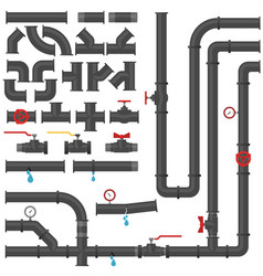 water pipes and taps collection water steel vector image