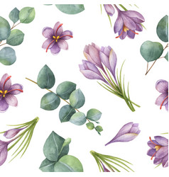 Watercolor seamless pattern with silver vector