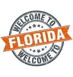 Welcome to Florida orange round ribbon stamp vector