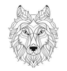 wolf head entangle stylized coloring page vector image