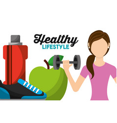 woman athletic lifting barbell apple sneaker and vector image