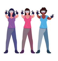 Women using technology augmented reality vector