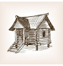 Wooden hut hand drawn sketch vector image