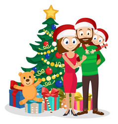 young family dad mom and daughter near christmas vector image