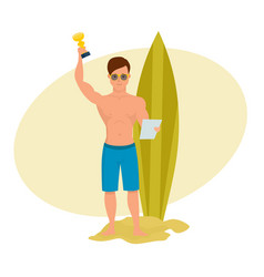 young surfer holds a letter and cup in the hands vector image