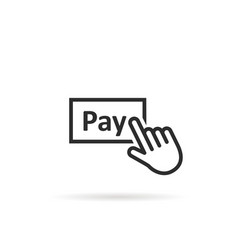 black thin line finger presses on pay button vector image vector image