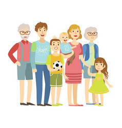 full family with parents grandparents and two vector image vector image