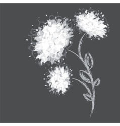 Three flower shapes on dark background vector image vector image