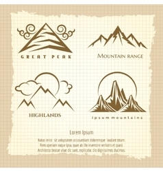 Vintage poster with mountain logo design vector image vector image