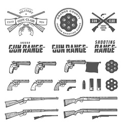 Weapons labels emblems and design elements vector image vector image