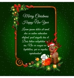 Christmas postcard with gifts deer and sample text vector image vector image