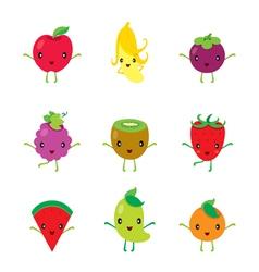 Cute Cartoon Characters Design Set Of Fruits vector image vector image
