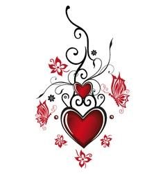 Hearts floral vector