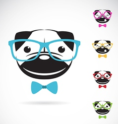 Images of pug dog wearing glasses vector