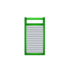 wooden washboard in green and silver design vector image vector image