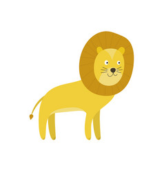 cute cartoon smiling yellow lion character vector image