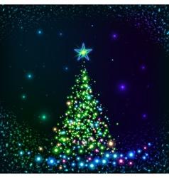 Green shining lights Christmas tree vector image