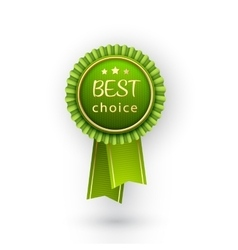 best choice green label with ribbons vector image