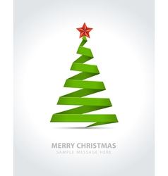 Christmas tree from paper ribbon vector