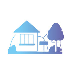 Line house with windows and mountains with tree vector