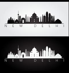 new delhi skyline and landmarks silhouette vector image