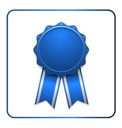 Ribbon award icon blue 1 vector image