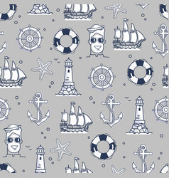 seamless pattern marine element in black and white vector image vector image