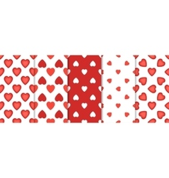 Set of 5 seamless pattern with hearts on white vector image