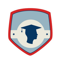 shield and label with silhouette graduate vector image