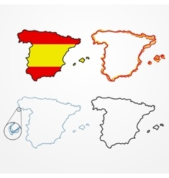 Spain silhouette set vector image