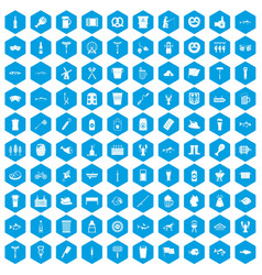100 beer icons set blue vector