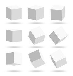 A set of cube icons with a perspective 3d cube vector