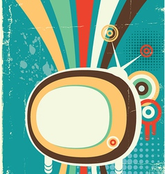 Abstract retro television poster on old background vector