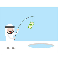 arab businessman use banknote and fishing rod for vector image
